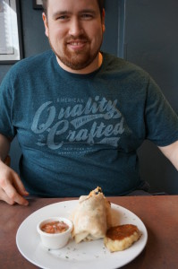 Kevin with his breakfast burrito