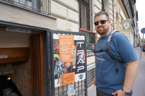 My husband Kevin getting ready to enter an escape game - Budapest 2014