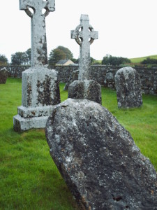 Worn tombstones at Clonmacnoise