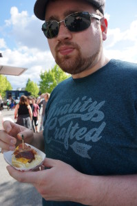 Kevin Enjoying the Bacon Cheese Dog