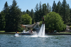 Flyboarder on the Spokane River
